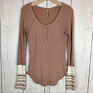 Free People long sleeve with knit detail